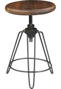 Banqueta New York Cor Rustic Brown Com Base Aco Grafite 47 Cm (Alt) - 50318 - Sun House