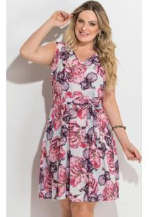 b78e6b5c6632 Vestido Floral Sem Mangas Plus Size Quintess