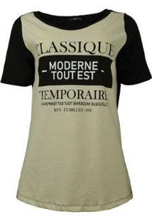 Camiseta Knt Classique - Feminino-Preto