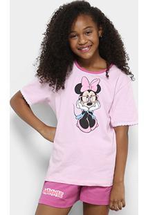 c26ccc7c1e1e9a Pijama Infantil Lupo Minnie Manga Curta Feminino - Feminino-Rosa