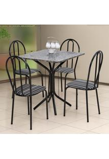 Conjunto De Mesa Com 4 Cadeiras Thais Craqueado Preto Listrado Branco E Preto