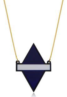 Colar Le Diamond Losango De Acrilico - Azul Marinho - Feminino - Dafiti