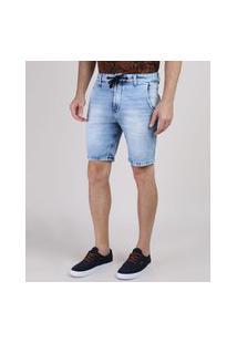 Bermuda Jeans De Moletom Masculina Slim Com Cordão Azul Claro