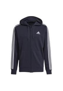 Jaqueta Moletom Adidas Essentials 3-Stripes Masculina Gk9033, Cor: Azul Marinho/Branco, Tamanho: P