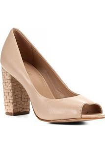Peep Toe Shoestock Couro Salto Médio Bloco - Feminino-Nude