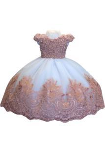 Vestido Liminha Doce Infantil Luxo Bordado Em Perolas Rose-Infantil