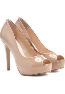 Peep Toe Shoestock Meia Pata Verniz - Feminino-Nude