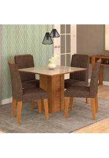 Conjunto De Mesa De Jantar Quadrada Rafaela Com 4 Cadeiras Nicole Suede Cacau E Off White
