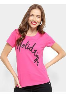 Camiseta Top Moda Holidays Feminina - Feminino-Rosa