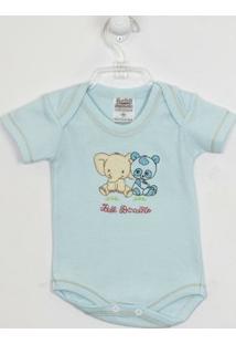 Body Bebê Masculino Manga Curta Azul Claro Bordado Elefante E Panda -Rn - Masculino-Azul Claro