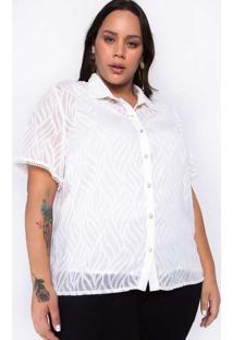 Camisa Almaria Plus Size New Umbi Devorê Branco
