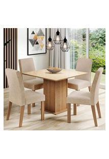 Conjunto Sala De Jantar Madesa Evelin Mesa Tampo De Vidro Com 4 Cadeiras Rustic/Crema/Imperial Rustic