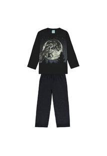 Pijama Infantil Kyly Dino Lua Preto