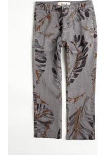 Calça Mini Pf Folhas Pinceladas Reserva Infantil Masculino - Masculino-Cinza