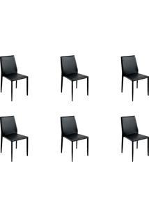 Kit 06 Cadeiras Amanda Pvc Preta Rivatti