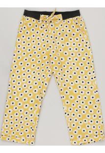 Calça Infantil Fábula Estampada De Margarida Com Nó Amarela
