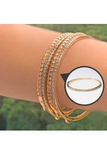 Bracelete Cravejado Com Zircônias Brancas Folheado A Ouro