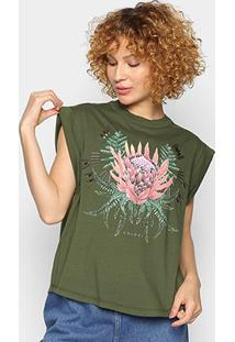 Camiseta Colcci Estampada Bordado Manual Feminina - Feminino-Verde