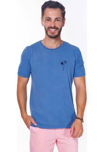 Camiseta Hiatto Estampada Manga Curta Azul