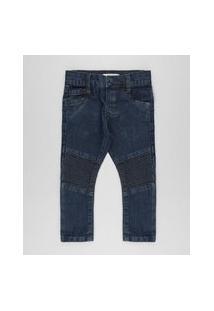 Calça Jeans Slim Biker Em Algodão + Sustentável Azul Escuro