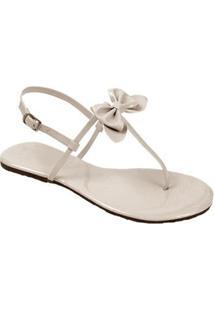 Rasteira Mercedita Shoes Verniz Laço Feminina - Feminino-Off White