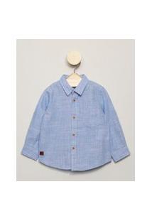 Camisa Infantil Com Bolsinho Manga Longa Azul Claro