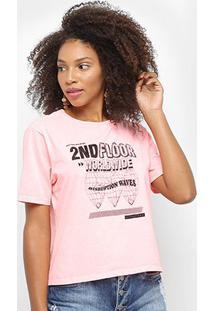 Camiseta Ellus 2Nd Floorworld Wide Feminina - Feminino-Pink