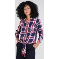 1220a96f54 Camisa Feminina Estampada Xadrez Com Nó Manga Longa Azul Marinho