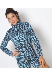Jaqueta Geométrica- Preta & Azul- Maborémaboré
