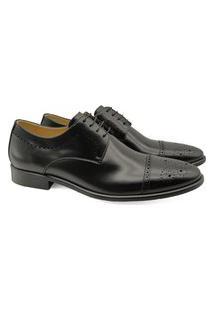 Sapato Derby Masculino Couro Brogue Bico Redondo Confortável Vinho 37 Preto