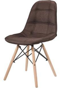 Cadeira Eames Estofada Linho Marrom Base Madeira - 43055 Sun House
