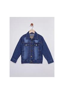 Jaqueta Jeans Infantil Para Menino - Azul