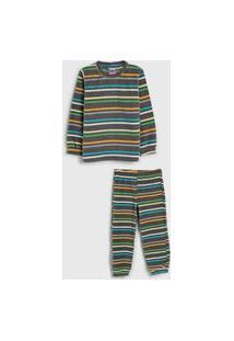 Pijama Tip Top Longo Infantil Listrado Cinza/Verde