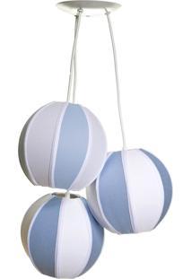 Lustre Pendente 3 Bolinhas Azuis Potinho De Mel Azul