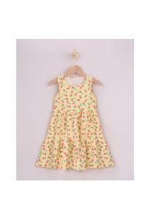 Vestido Infantil Estampado Floral Com Recortes Alça Larga Amarelo