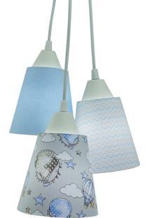 Lustre Pendente Luminária Quarto De Bebê Tecido Balão Tons De Azul E Cinza