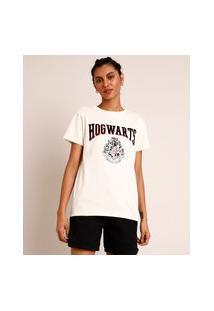 Camiseta E Algodão Hogwarst Harry Potter Manga Curta Decote Redondo Off White
