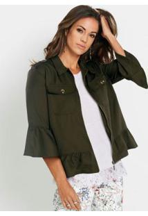 Jaqueta De Sarja Com Babados Verde Militar