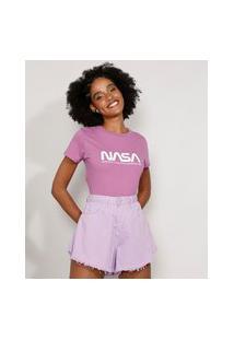 Camiseta Feminina Manga Curta Nasa Decote Redondo Roxa