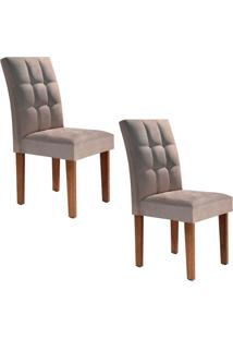 Conjunto Com 2 Cadeiras Vitória Chocolate E Bege