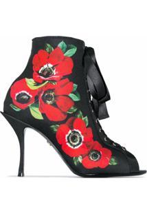 Dolce & Gabbana Bota 90 De Jersey Com Estampa Floral - Preto