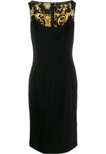 Versace Vestido Slim Com Decote U - Preto