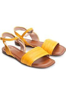 Rasteira Couro Dumond Flat Drapeada - Feminino-Amarelo