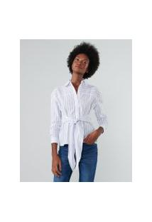 Amaro Feminino Camisa Listrada Amarração Cintura, Listrado Azul Fino