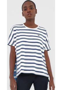 Camiseta Lacoste Listrada Azul/Off-White - Azul - Feminino - Algodã£O - Dafiti