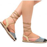 bc32047f6 Sandália Rasteira Zariff Shoes Amarração Glitter