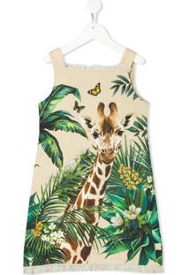 Dolce & Gabbana Kids Vestido Sem Manga Com Estampa De Girafa - Neutro