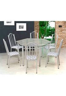 Conjunto De Mesa Com 6 Cadeiras Lorena Branco E Estampa Capitonê