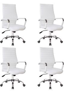 Conjunto Com 4 Cadeiras De Escritório Diretor Giratórias Cleaner Branco