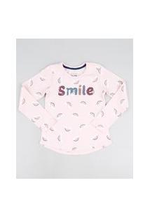 Blusa Infantil Smile Em Paetê E Arco Iris Manga Longa Rosa Claro